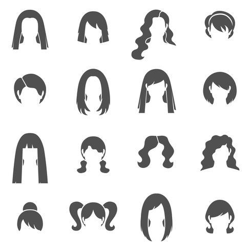 Frauenfrisur-schwarze weiße Ikonen eingestellt vektor