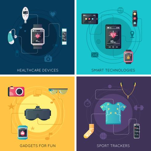 Wearable Technology 4 Flat Icons Square vektor