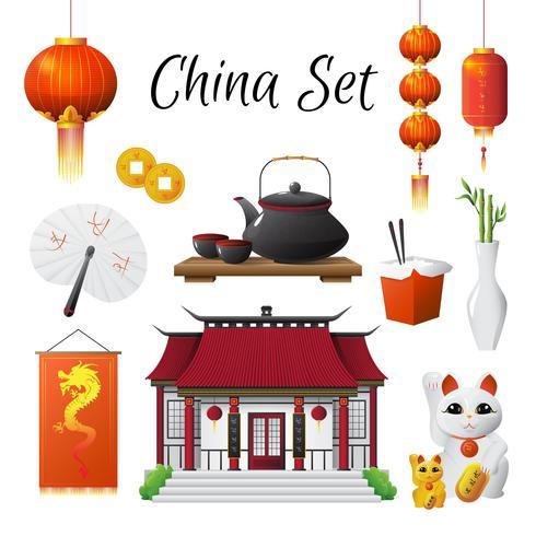 Kina Kultur Traditioner Symboler Samling vektor