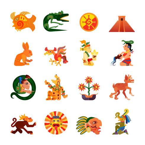 Maya Symboler Platta Ikoner Set vektor