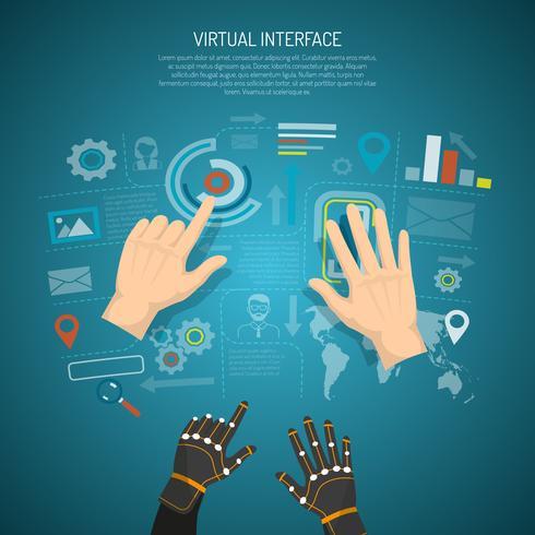 virtuellt gränssnittsdesignkoncept vektor