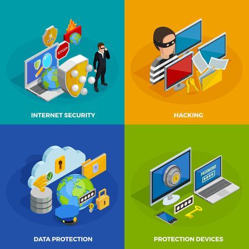 Konfigurera ikoner för dataskydd vektor