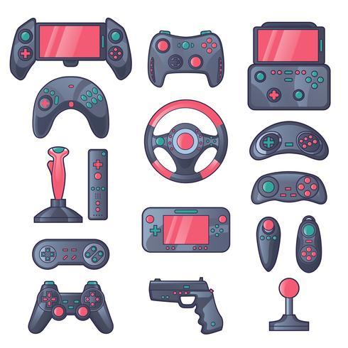 Spiel-Gadget-Farbikonen eingestellt vektor