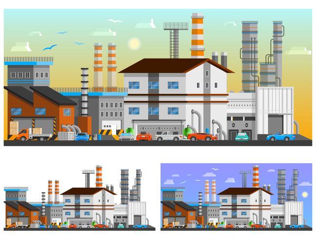 Industrial Buildings Orthogonal Compositions Set vektor