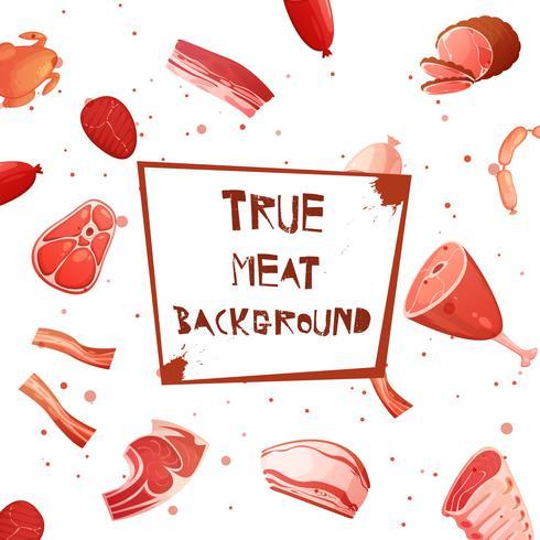 tecknad kött sätta sömlöst mönster vektor