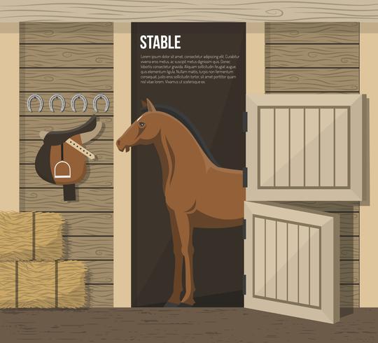 Hästavel Farm Stall Stall Poster vektor