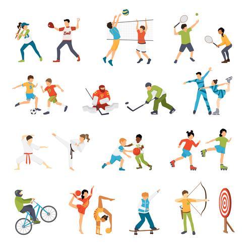 barn sport ikoner uppsättning vektor