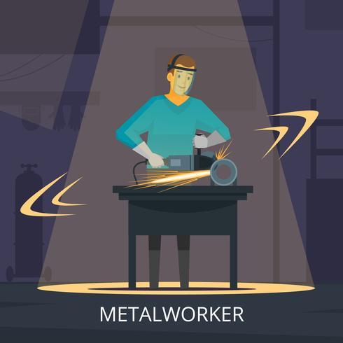 Metallarbeiter-Produktionsprozess-flaches Retro-Plakat vektor