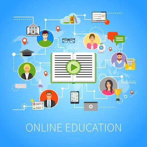 Flache Infographik-Webseiten-Zusammensetzung der Online-Bildung vektor