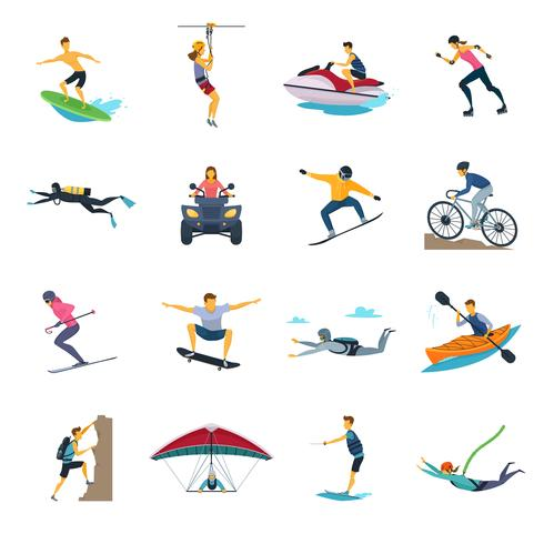 Extreme Sports Activities Flat Icon Collection vektor