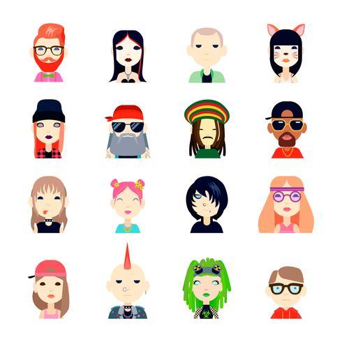 Subkultur-Icons Set vektor