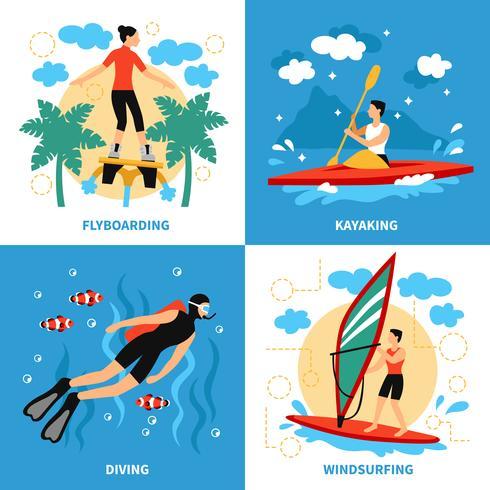 Wassersport-Konzeptikonen eingestellt vektor