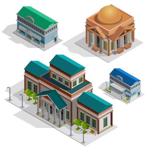 Bank- und Museumsgebäude-isometrische Ikonen vektor