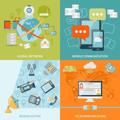 Telekommunikation 2x2 Design Concept vektor
