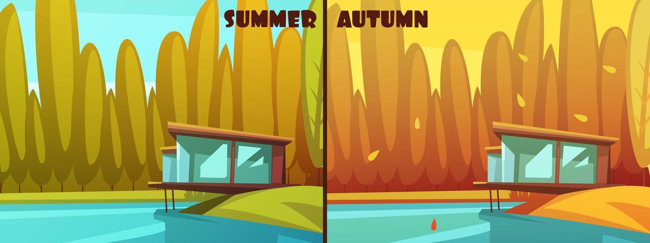 Natur Sommar Höst Retro Tecknad Set vektor