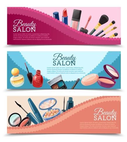 Kosmetika Skönhet Makeup Banners Set vektor