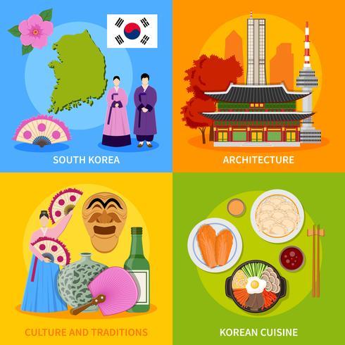 Korea Culture 4 Flat Ikoner Square vektor