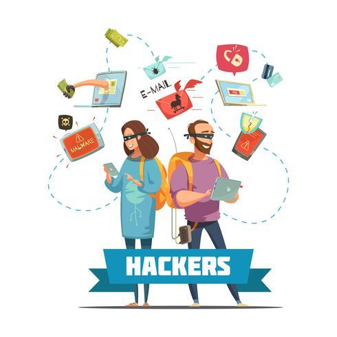 Hackers Criminals Cartoon Composition Poster vektor