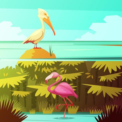 Tropische Vögel Horizantal Retro Banner Set vektor