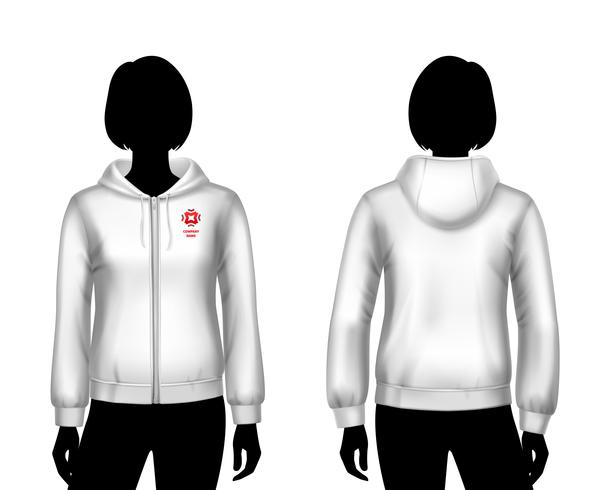 Kvinnor hooded tröja mall vektor