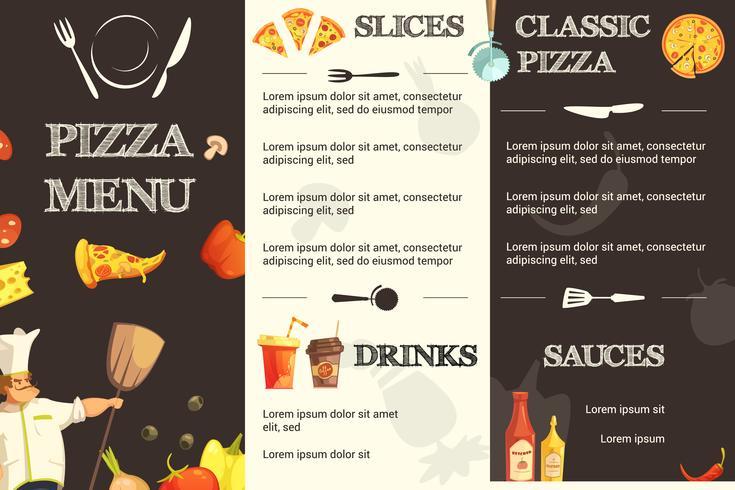 Pizza Meny Flat Mall För Restaurang vektor