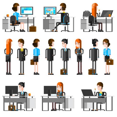 Büro-Leute-Karikatur-Ikonen eingestellt vektor