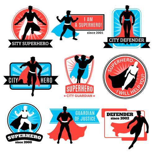 Satz von Superheld-Emblemen und Aufklebern vektor