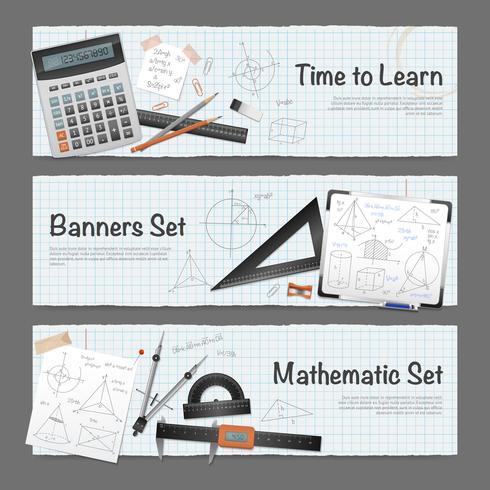 Matematiska Science Banners Set vektor