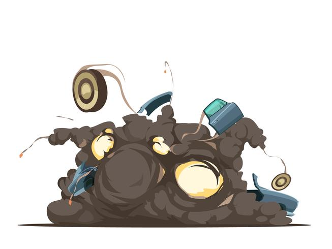 Car Bomb Explosion Retro kartongaffisch vektor