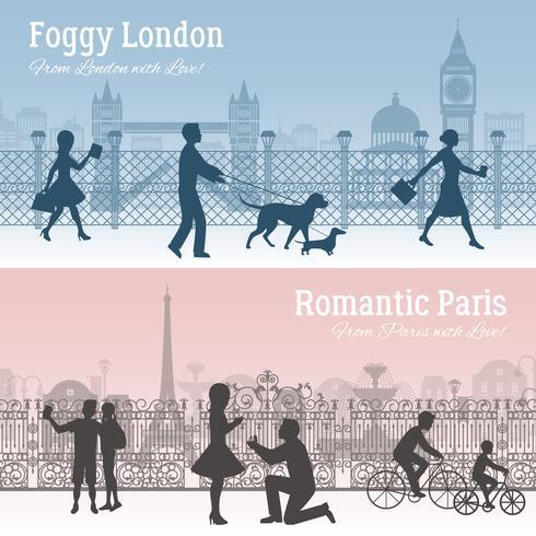 London och Paris Banners Set vektor