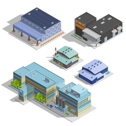 fabrikslager isometriska bilder uppsättning vektor