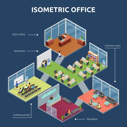 Isometrischer Bürogebäude mit 3 Etagen vektor