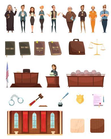 Gesetzesgerechtigkeit Retro Cartoon Icons Set vektor