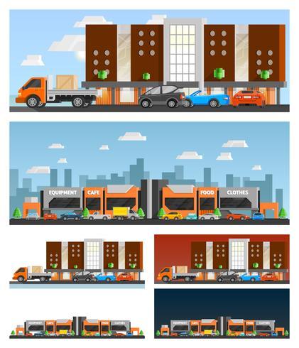 Einkaufszentrum und Stadtkompositionen vektor