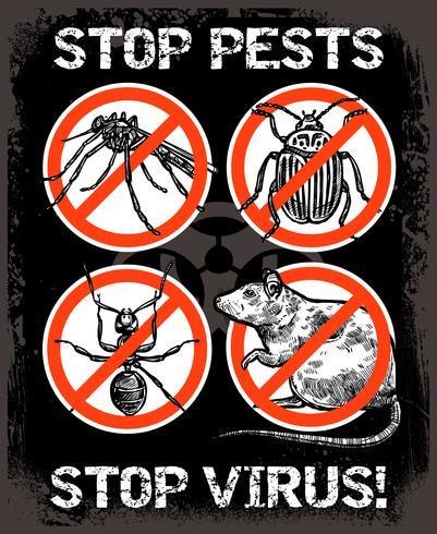 Skizze Schädlingsbekämpfung Insekten Poster vektor