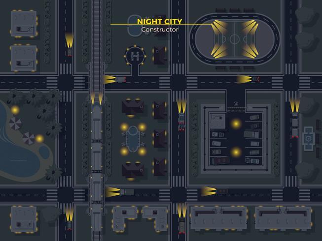Nachtstadt-Draufsicht vektor