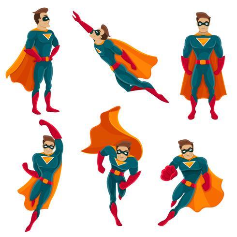 ikonuppsättning för superhjälteaktioner vektor