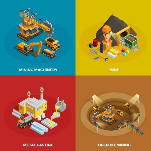 Mining-Konzept Icons Set vektor