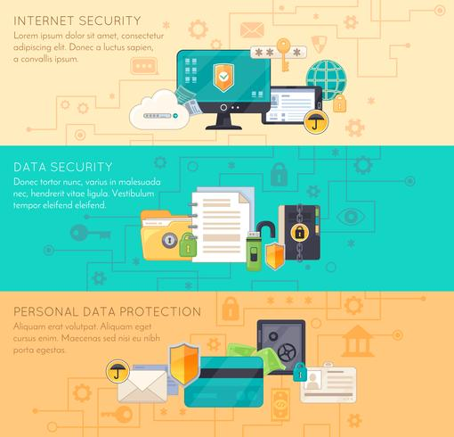 Online Data Protection 3 Flat Banners vektor