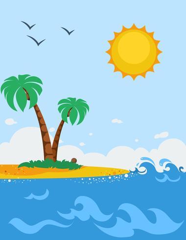 Havslandskap affisch i tecknad stil vektor