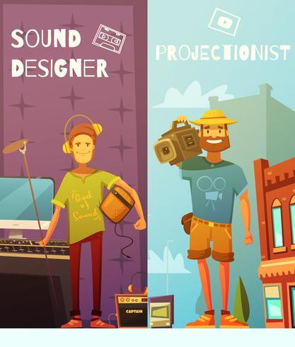 Projektionist und Ton-Designer-Karikatur-Fahnen vektor