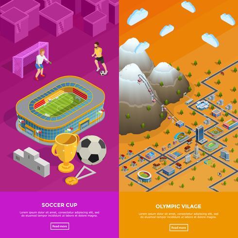 Fußballstadion-olympisches Dorf-isometrische Fahnen vektor