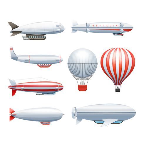 Luftschiff-weiße rote Ikonen eingestellt vektor