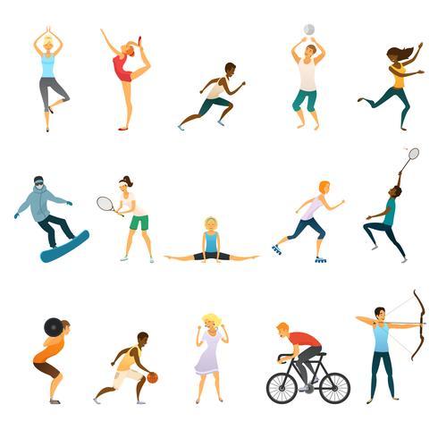 Sport folk platt färg ikoner vektor