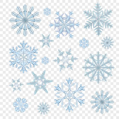 Schneeflocken transparent blau vektor