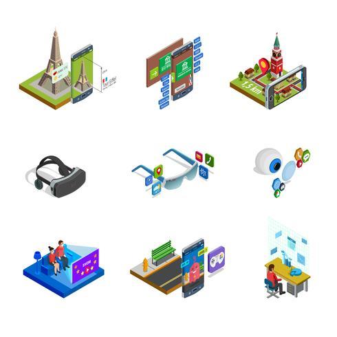 Isometriska ikoner med ökad verklighet vektor
