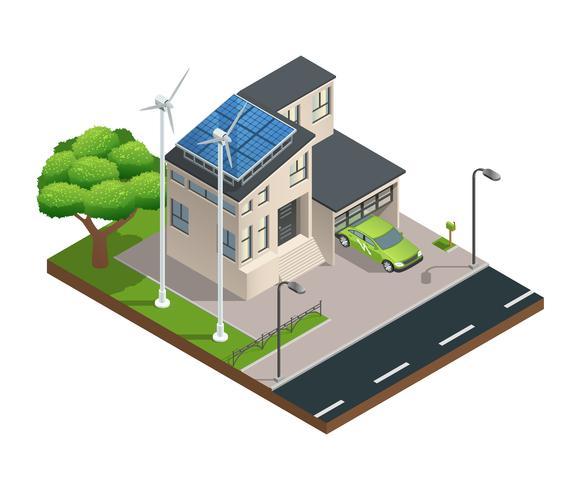 Isometrisches grünes Öko-Haus vektor