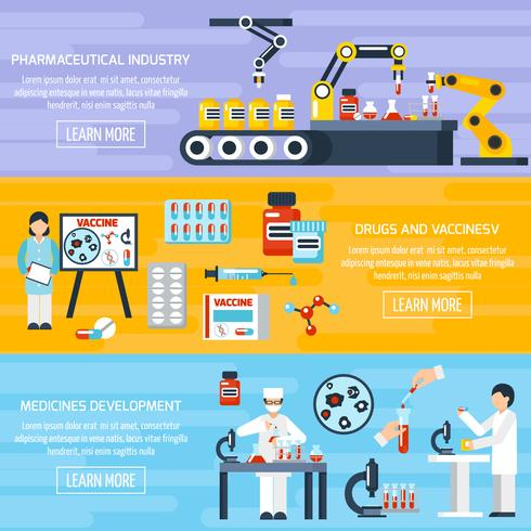Läkemedelsproduktion Banners Set vektor