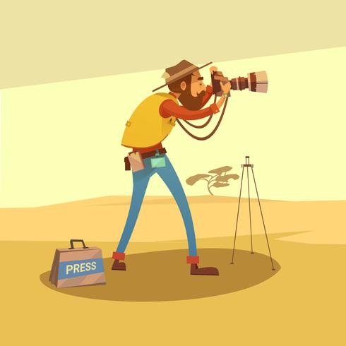 Journalist-Karikatur-Illustration vektor