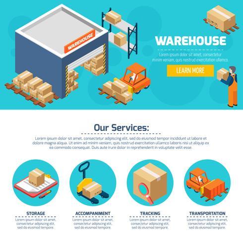 Warehouse-Website vektor